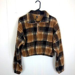 NWOT Zaful Plaid Crop Teddy Bear Fleece Jacket